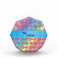 Personalized name rainbow horseshoes hearts awards