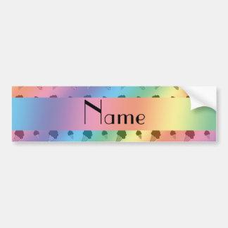 Personalized name rainbow ice cream pattern car bumper sticker