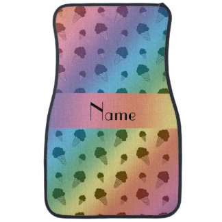 Personalized name rainbow ice cream pattern car mat