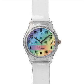 Personalized name rainbow ice cream pattern wrist watch
