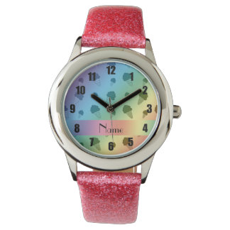 Personalized name rainbow ice cream pattern wristwatches