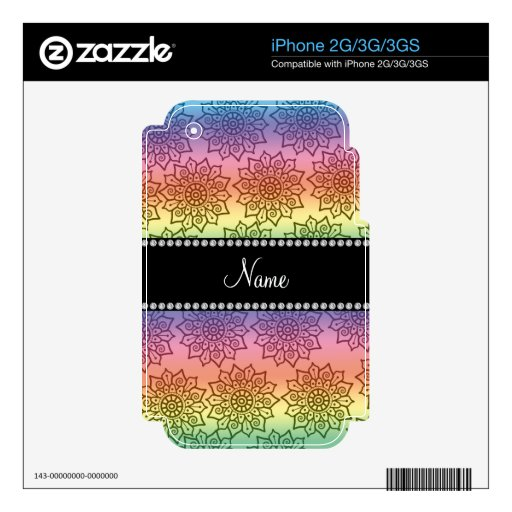 Personalized name rainbow intricate flowers iPhone 2G decals