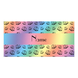 Personalized name rainbow justice scales photo card