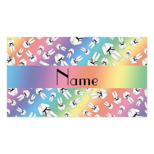 Personalized name rainbow karate pattern business card