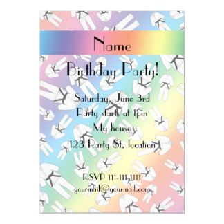 Personalized name rainbow karate pattern magnetic invitations