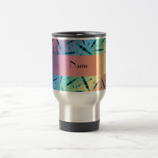 Personalized name rainbow kayaks travel mug