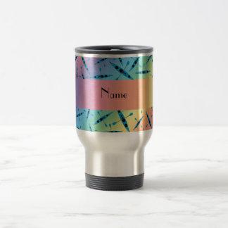 Personalized name rainbow kayaks travel mug