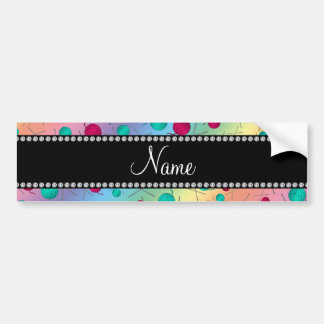 Personalized name rainbow knitting pattern bumper stickers