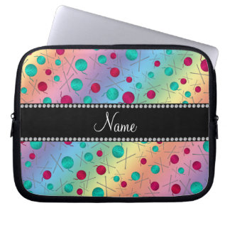 Personalized name rainbow knitting pattern laptop sleeves
