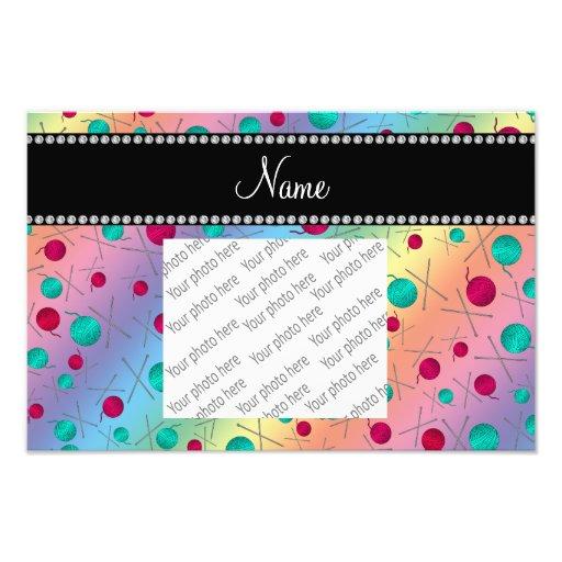 Personalized name rainbow knitting pattern photograph