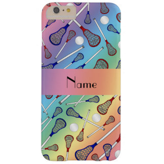 Personalized name rainbow lacrosse pattern barely there iPhone 6 plus case