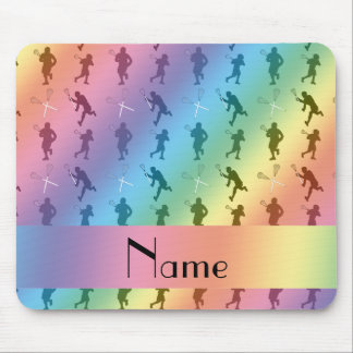 Personalized name rainbow lacrosse silhouettes mouse pad