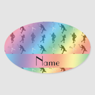 Personalized name rainbow lacrosse silhouettes oval sticker