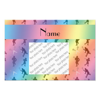 Personalized name rainbow lacrosse silhouettes photo print