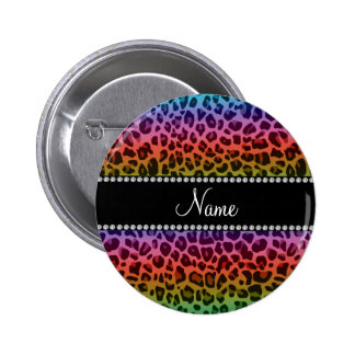 Personalized name rainbow leopard pattern 2 inch round button