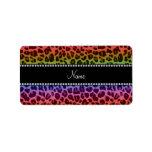 Personalized name rainbow leopard pattern address label