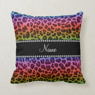 Personalized name rainbow leopard pattern throw pillow