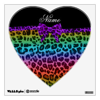 Personalized name rainbow leopard print purple bow wall decal