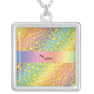 Personalized name rainbow lightning bolts custom necklace