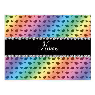 Personalized name rainbow lips and hearts pattern postcard