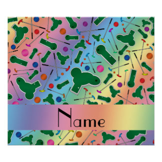 Personalized name rainbow mini golf poster