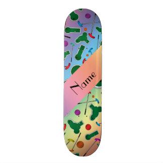 Personalized name rainbow mini golf skate decks