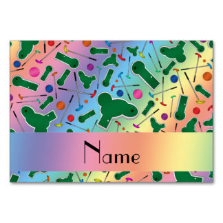 Personalized name rainbow mini golf table card