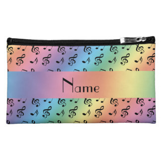 Personalized name rainbow music notes makeup bags