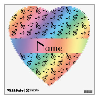 Personalized name rainbow music notes room decals