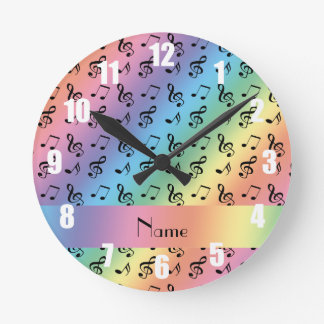 Personalized name rainbow music notes round clock