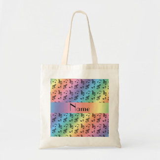 Personalized name rainbow music notes tote bag