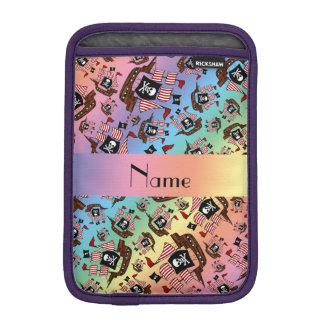 Personalized name rainbow pirate ships sleeve for iPad mini