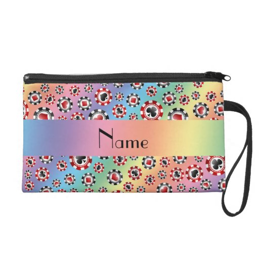 Personalized name rainbow poker chips wristlet clutches