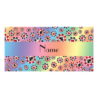 Personalized name rainbow poker chips photo card template