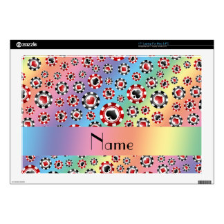 Personalized name rainbow poker chips laptop decal