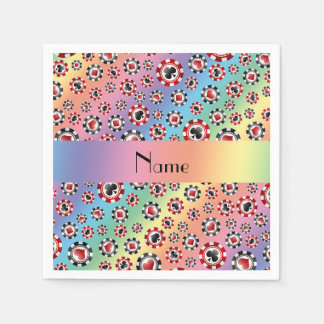 Personalized name rainbow poker chips disposable napkin