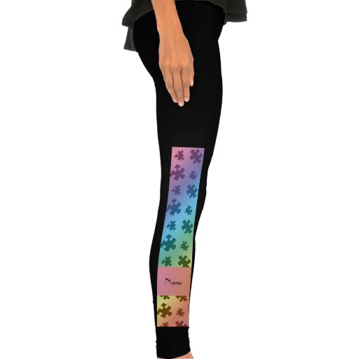 Personalized name rainbow puzzle leggings
