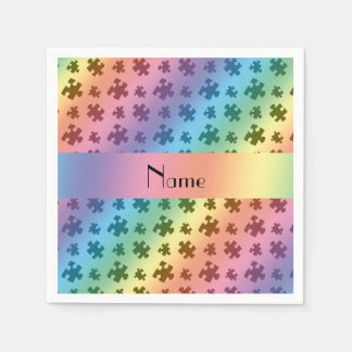 Personalized name rainbow puzzle napkin