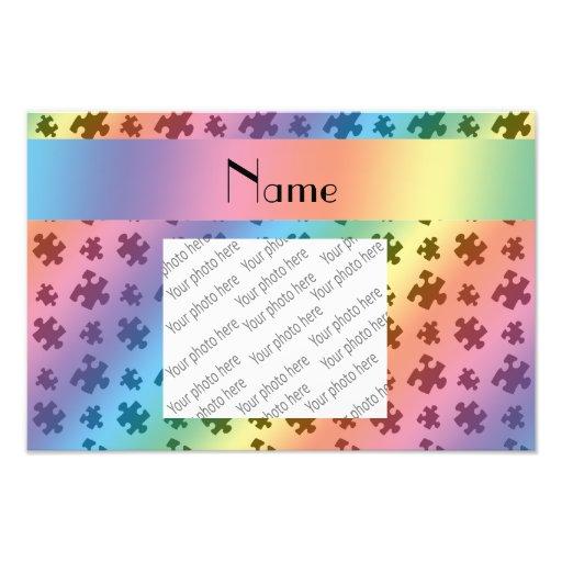 Personalized name rainbow puzzle photographic print
