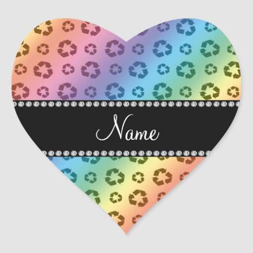 Personalized name rainbow recycling pattern heart stickers