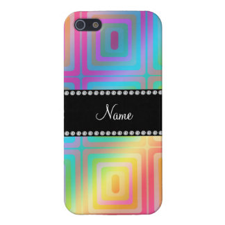 Personalized name rainbow retro colorful squares cover for iPhone 5/5S