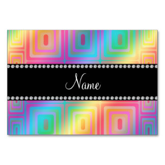 Personalized name rainbow retro colorful squares table cards