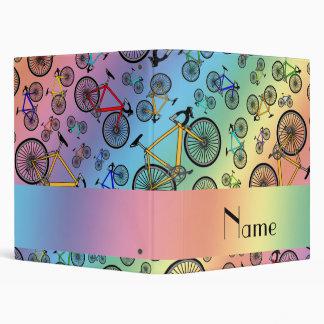Personalized name rainbow road bikes 3 ring binders