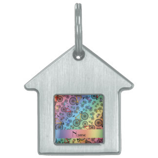 Personalized name rainbow road bikes pet ID tags