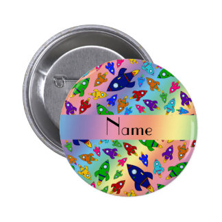 Personalized name rainbow rocket ships pinback button
