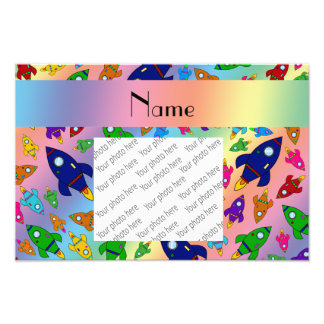 Personalized name rainbow rocket ships photographic print