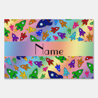 Personalized name rainbow rocket ships yard signs