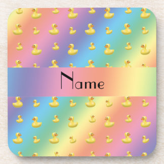 Personalized name rainbow rubber duck pattern beverage coaster