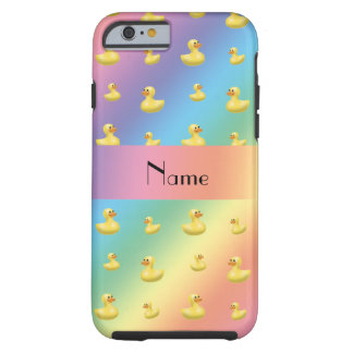 Personalized name rainbow rubber duck pattern tough iPhone 6 case