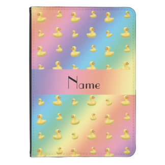 Personalized name rainbow rubber duck pattern kindle 4 case